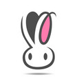 bunny head symbol icon on white vector image vector image