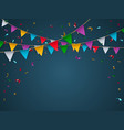 buntings garland with realistic flag place for vector image