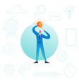 businessman with light bulb creative idea vector image vector image