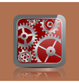 Button silver with gears vector image vector image
