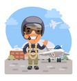 cartoon fighter pilot vector image vector image