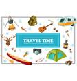 cartoon summer travel concept vector image vector image