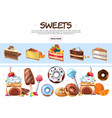 cartoon sweet products collection vector image vector image