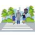 children help old man flat vector image