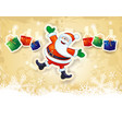 christmas background with funny santa gifts and vector image vector image