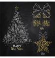 christmas mugs chalk color vector image