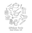 collection hand drawn kitchen tools vector image