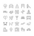 collection linear park icons vector image