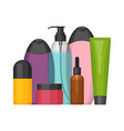 colorful cosmetic bottles set flat design vector image