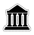 court building silhouette icon vector image vector image