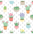 cute small flower in pot on dot seamless pattern vector image