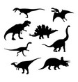 dinosaur silhouettes set vector image