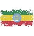 Ethiopian grunge tile flag vector image vector image