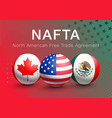 flags of nafta countries canada usa and mexico vector image vector image