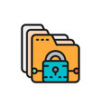 folder with lock file protection data security vector image vector image