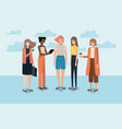 group of women using smartphone and drinking vector image