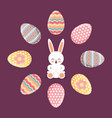 happy rabbit sitting frame eggs decorative festive vector image