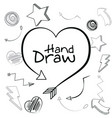 heart hand draw vector image vector image