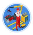 isometric car maintenance vehicles diagnostics vector image