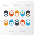 job flat icons set collection of suitcase vector image vector image
