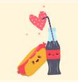 kawaii fast food couple hotdog and cola vector image vector image