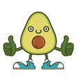 kawaii smiling avocado fruit with sneakers cartoon vector image