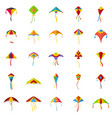 kite flying festival surf icons set flat style vector image vector image