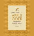 label for apple cider on the basket background vector image vector image