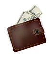 Leather wallet with dollars inside vector image