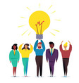 light bulb people work in a team and achieve the vector image vector image