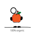 man with peach in hand vector image