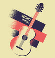 music poster background with acoustic guitar and vector image vector image
