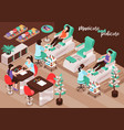 nail salon isometric background vector image