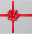 realistic gift ribbon red bow of on transparent vector image vector image