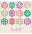 retro christmas background with hand draw snowflak vector image vector image