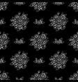 seamless white outline flowers wallpaper vector image