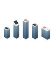 set isometric modern white skyscrapers vector image vector image