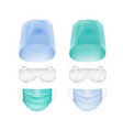 set medical face ear loop mask cap glasses vector image
