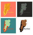 set of flat icon map of mumbai vector image vector image