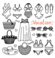 set of hand drawn women clothes and accessories vector image