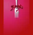 silver fork with ribbon bow festive dinner vector image