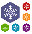 snowflake icons hexahedron vector image vector image