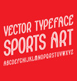 sports art typeface white striped font isolated vector image