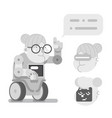 teacher granny robot wise guidance old lady vector image