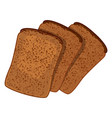 three slices of wheat bread realistic style vector image vector image