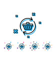 update shopping cart line icon online buying vector image