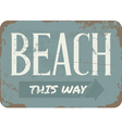 Vintage Beach Metal Sign vector image vector image