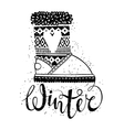 Winter text brush lettering and boots with heart vector image vector image