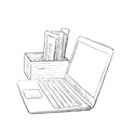 Workplace with handdrawn notebook vector image vector image