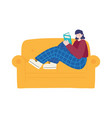 young woman sitting on sofa reading book isolated vector image